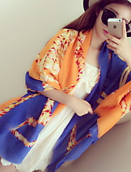 Women Super Wide Golden Chain Shawls Scarf Twill Cotton Printing Silk scarves