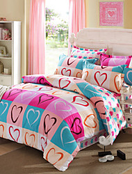 Panic Buying Bedding Set Heart-shaped Bedclothes Sweet Plaids Comforter Super Soft Cotton Bed Linen 4Pcs Queen Size