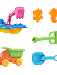 6-Pieces Beach Sand Toys Set with Boat, Truck, Sand Shovel, Sand Rake and 2-Models