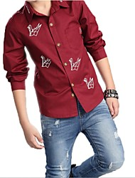 Katoen - Lente - Boy's - Overhemd - Lange mouw