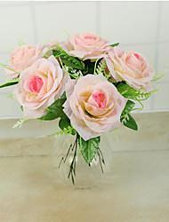 1 Stück hochwertige Rosen Blume Seidenblume Kunstblumen für Hauptdekoration Blume Kit (pink)