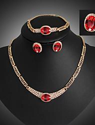 Lucky Doll Vintage Crystal Gem 18K Gold Plated Zirconia Tassel Necklace & Earrings & Bracelet & Ring Jewelry Sets