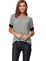 Damen Einfarbig Sexy / Retro Lässig/Alltäglich T-shirt,Rundhalsausschnitt Alle Saisons Kurzarm Schwarz / Grau Baumwolle / Polyester Mittel