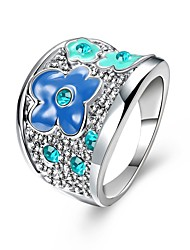 Matching Rings for Couples Fashion Enamel Jewelry Genuine SWA Elements Platinum Plated Blue Austrian Crystal Flower Rings