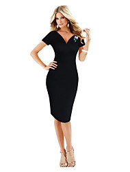 Women's Sexy / Simple Solid Bodycon Dress , V Neck Knee-length Cotton / Polyester