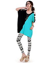 Damen Patchwork Street Schick Lässig/Alltäglich T-shirt,Rundhalsausschnitt Sommer Kurzarm Blau / Rosa / Orange / Gelb Modal Mittel