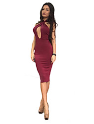 Women's Sexy Solid Bodycon Dress , Halter Knee-length Polyester