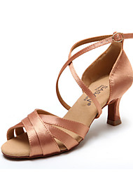 Non Customizable Women's Dance Shoes Latin / Salsa Flocking / Sparkling Glitter Flared Heel Black / Chocolate