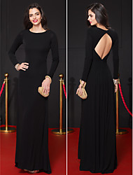 TS Couture Formal Evening Dress - Black Sheath/Column Scoop Floor-length Jersey