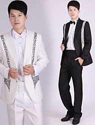 Suits Tailored Fit Notch Single Breasted Two-buttons Polyester Stripes 4 Pieces Black / White