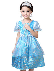 Robe Fille de Eté Polyester Bleu