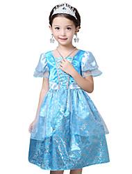 Girl's Blue Dress , Floral Polyester Summer