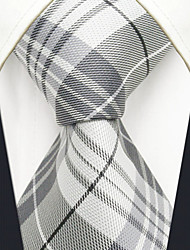 Men's Tie Gray Checked  Fashion 100% Silk  Business