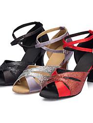 Women's Dance Shoes Latin / Jazz / Swing Shoes / Salsa Satin / Paillette Customized Heel Black / Red / Silver