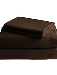 Brown Solid Microfiber Sheet Sets