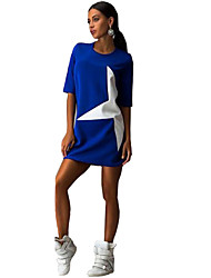 Women's Casual Day Simple Color Block Print Star Round Neck  /½ Length Sleeve Mini  Loose Dress