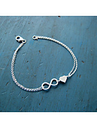 Silver Heart 8 Shape Chain & Link Bracelet Jewelry
