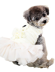 Perros Vestidos Blanco / Rosado Primavera/Otoño Un Color Moda