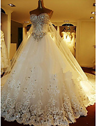 A-line Petite Wedding Dress - Elegant & Luxurious Sparkle & Shine / Two-In-One Wedding Dresses Cathedral Train Sweetheart Tulle