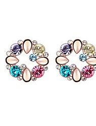 Full Austria Crystal Stud Earrings for Women Multicolor Round Earrings Fashion Jewelry Accessories