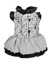 Dog Dress Beige Spring/Fall Plaid/Check / BowknotDoglemi, Dog Clothes / Dog Clothing