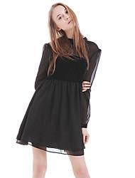 vestido ocasional boutique s das mulheres / dia patchwork solto, em torno do pescoço acima de poliéster joelho
