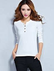 Vrouwen Eenvoudig / Street chic Lente T-shirt,Casual/Dagelijks Effen V-hals Lange mouw Rood / Wit / Beige / Zwart / GrijsKatoen /