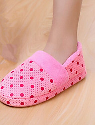 Women's Shoes Cotton Flat Heel Slippers / Closed Toe Slippers Casual Blue / Pink / Purple