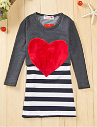 Girl's Casual/Daily Striped Dress,Cotton Summer Long Sleeve