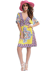 HOT Women's Casual / Day / Boho Floral Loose / Shift Dress , V Neck Knee-length Rayon / Nylon