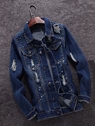 Spring fashion casual men's jeans slim old Korean personality badge cloth embroidered jacket trend