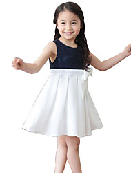 Girl's Blue / White Dress,Solid Rayon Summer