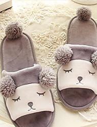 Zapatos de mujer-Tacón Plano-Zapatillas-Pantuflas-Casual-Vellón-Rosa / Gris