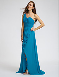 LAN TING BRIDE Sweep / Brush Train One Shoulder Bridesmaid Dress - Furcal Sleeveless Chiffon