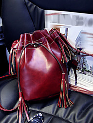 L.WEST® Women's Lovely Pure Color Restoring Ancient Ways Tassel With Drawstring Shoulder Bag