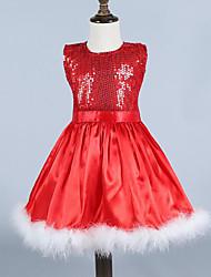 Vestido Chica de - Verano / Primavera / Otoño - Rayón - Rojo