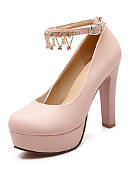 Women's Shoes PU Summer / Fall Heels / Round Toe Office & Career / Casual Chunky Heel Sparkling Glitter / Buckle Blue / Pink / White