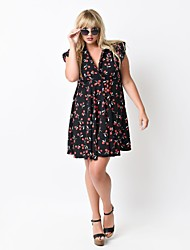 Women's Casual/Daily Boho Plus Size / A Line Dress,Floral Deep V Above Knee Sleeveless Red / Black Rayon / Polyester Summer