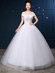 A-line Wedding Dress Floor-length Off-the-shoulder Lace / Satin with Appliques / Beading / Lace
