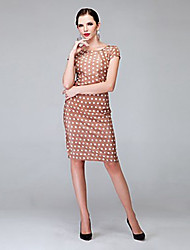 Women's Vintage Sexy Inelastic Polka Dot Knee-length Dress (Cotton Blends)