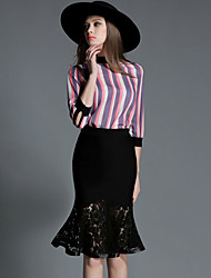 Women's Patchwork Black Skirts , Party / Cocktail / Simple Knee-length
