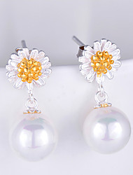 S925 Sterling Silver South Korea Fashion Pearl Set Auger Little Daisy Earrings   JHYED011