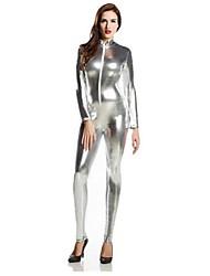 Zentai Suits Morphsuit Ninja Zentai Cosplay Costumes Silver Solid Leotard/Onesie Zentai Spandex Shiny Metallic Unisex Halloween Christmas