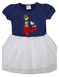 Vestido Chica de - Verano - Algodón - Azul