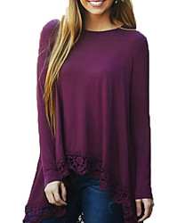 Women's Going out Simple / Street chic Blouse,Solid Round Neck Long Sleeve Purple Cotton / Rayon Medium