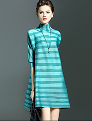 Women's Cute Striped A Line Dress , Turtleneck Above Knee Polyester