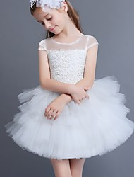 A-line Short / Mini Flower Girl Dress - Lace / Tulle Short Sleeve Jewel with