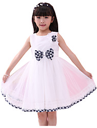 Girl's Flower Tull Plaid Bow Party Pageant Bridesmaid Dance Baby Kids Clothing Dresses