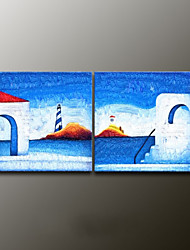 Hand-Painted Landscape Modern Oil Painting , Canvas Two Panels