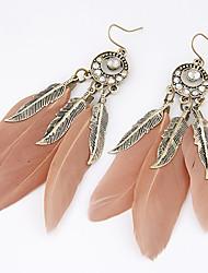 Feminino Brincos Compridos Moda Personalizado Europeu bijuterias Pena Liga Formato de Folha Pena Jóias Para Festa Diário Casual